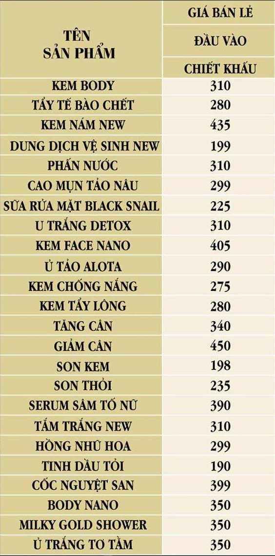 Bảng giá bán lẻ mỹ phẩm Huyền Phi